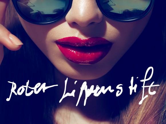 Roter Lippenstift schrift